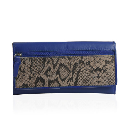100% Genuine Leather RFID Blocker Blue and Beige Colour Snake Pattern Wallet with Multiple Card Slots (Size 19X10.5X3.8 cm)