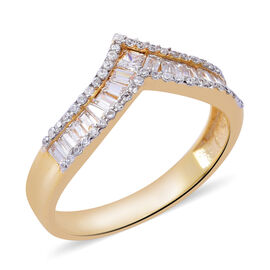 ELANZA Simulated Diamond (Bgt) Wishbone Ring in Yellow Gold Overlay Sterling Silver