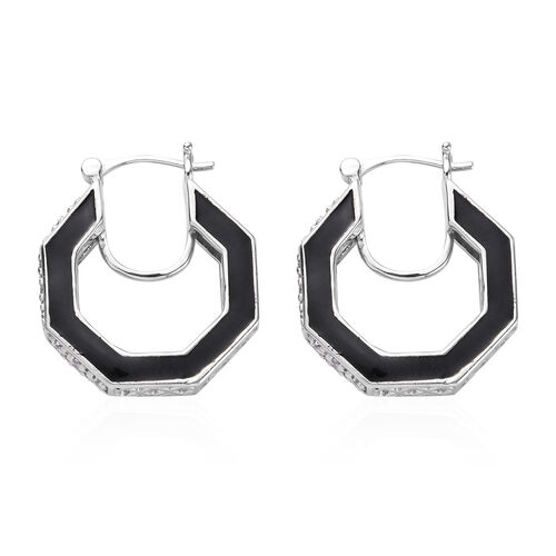 J Francis - Platinum Overlay Sterling Silver Enamelled Earrings (with Clasp) Made with SWAROVSKI ZIRCONIA 2.11 Ct, Silver wt. 9.83 Gms