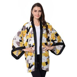 Designer Inspired-Black, White and Yellow Colour Flower Pattern Jacket (Size 80x75 Cm)