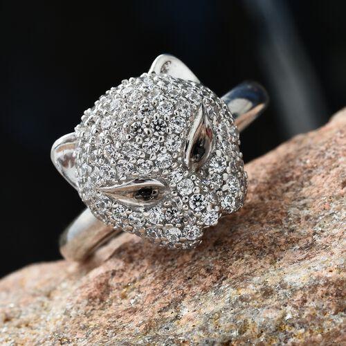 J Francis - Designer Inspired- Platinum Overlay Sterling Silver (Rnd) Leopard Ring Made with SWAROVSKI ZIRCONIA and Boi Ploi Black Spinel. Silver wt 6.11 Gms.