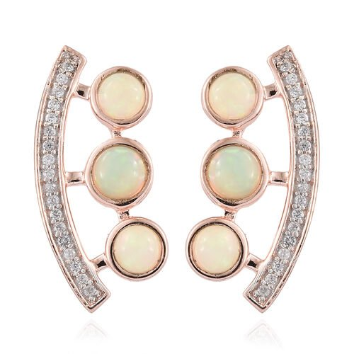 Ethiopian Welo Opal (Rnd), Natural Cambodian Zircon Earrings (with Push Back) in Rose Gold Overlay Sterling Silver 1.500  Ct.