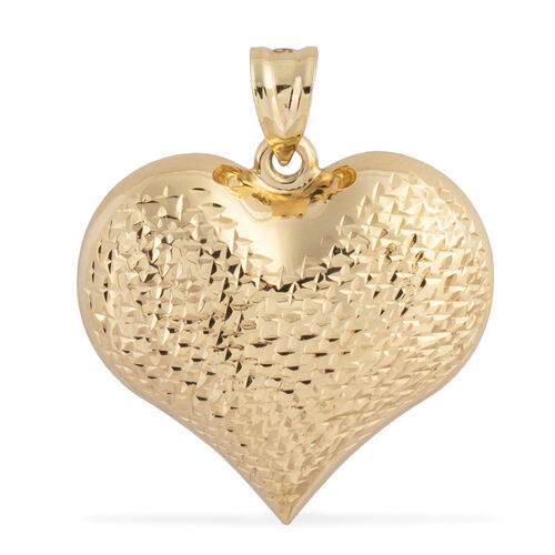 Istanbul Treasure Collection- 9K Yellow Gold Diamond Cut Heart Pendant, Gold wt 3.45 Gms