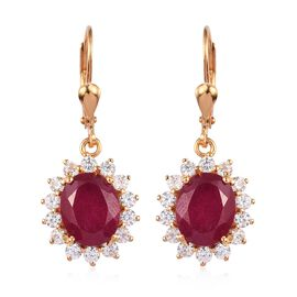 African Ruby and Natural Cambodian Zircon Lever Back Earrings in 14K Gold Overlay Sterling Silver 9.