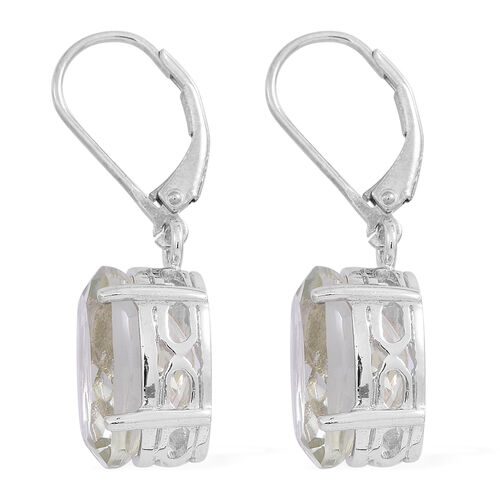 Green Amethyst (Ovl) Lever Back Earrings in Rhodium Plated Sterling Silver 10.000 Ct.