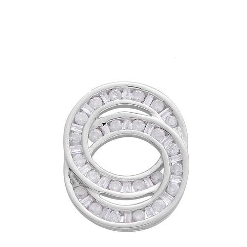 9K W Gold SGL Certified Diamond (G-H/I3) (Rnd and Bgt) Interlocking Circles Pendant 0.500 Ct.