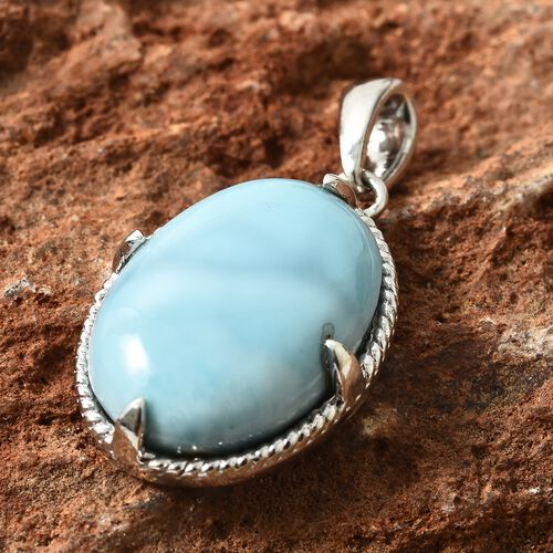 Collectors Edition- Extremely Rare Larimar (Ovl 22x16 mm) Pendant in Platinum Overlay Sterling Silver 20.000 Ct.