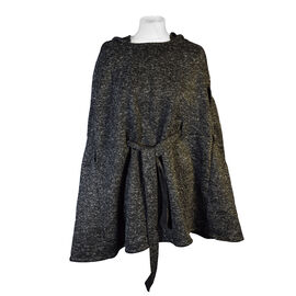Black Knitted Poncho with Waistbelt (Size 55x77cm)
