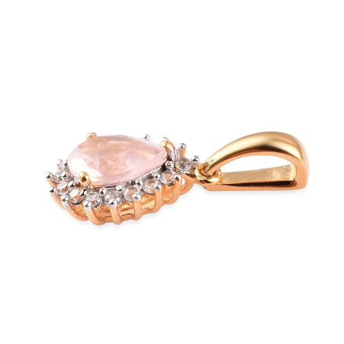Rose Quartz and Natural Cambodian Zircon Pendant in 14K Gold Overlay Sterling Silver 1.55 Ct.