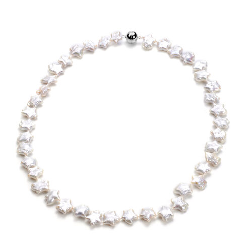 Baroque White Pearl Star Necklace (Size 20 with Magnetic Lock) in Rhodium Overlay Sterling Silver