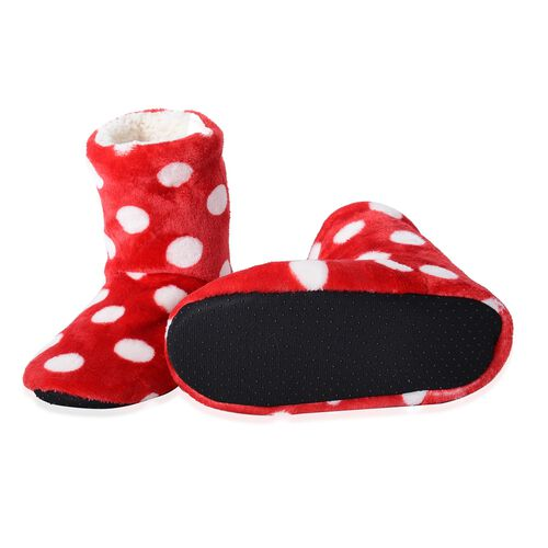 Set of 2 Pairs - Warm and Soft Red and White Colour Christmas and Polka Dot Pattern Faux Fur Booties with Sherpa Lining (Size 4 to 8)