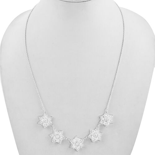 Sterling Silver Lotus Floral Necklace (Size 18.5 with 2 inch Extender), Silver wt 10.58 Gms