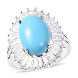 7.86 Ct Blue Howlite and Simulated Diamond Halo Ring in Silver Plated