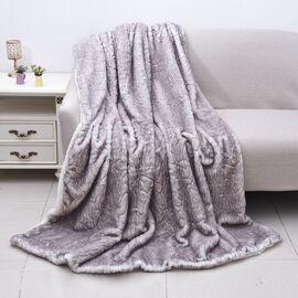 Alaskan Fox Faux Fur Sherpa Blanket (Size 150x200 Cm) - Grey