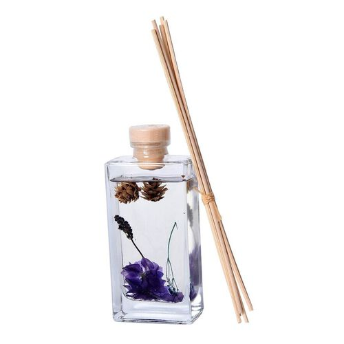 135ml Refillable Glass Bottle Oil Diffuser with Dry Flower and Reed Sticks (Size 7.5x24.5x10 Cm) - L