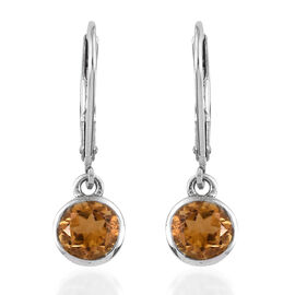 Citrine (Rnd) Earrings with Lever Back in Platinum Overlay Sterling Silver 1.250  Ct.