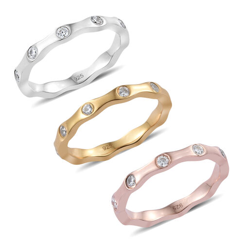 Set of 3 - J Francis - Platinum, Yellow Gold and Rose Gold Overlay Sterling Silver (Rnd) Ring Made w