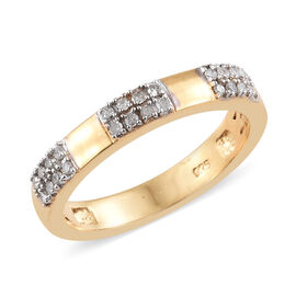 Diamond (Rnd) Band Ring in 14K Gold Overlay Sterling Silver 0.150 Ct