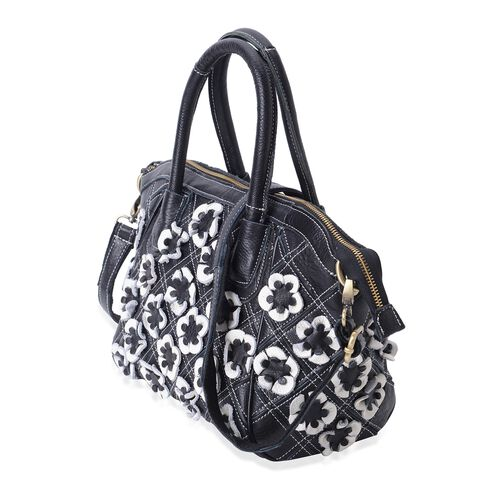 100% Genuine Leather Black and White Colour 3D Flower Adorned Tote Bag with Shoulder Strap (Size 35x26x23x15 Cm)