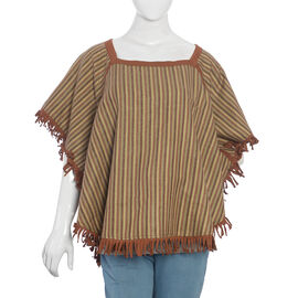 Beige and Brown Colour Top with Fringes (Size 86.4x68.6 Cm)