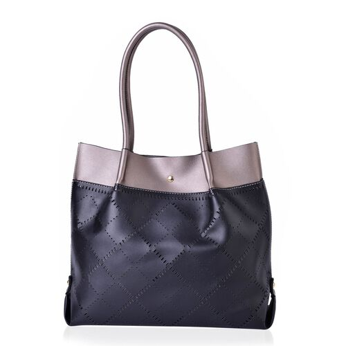 Black and Metallic Grey Colour Laser Cut Pattern Tote Bag (Size 40x30x13.5 Cm)
