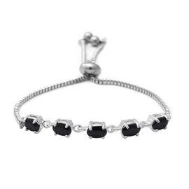 Boi Ploi Black Spinel (Ovl) Bolo Bracelet (Size 6.5-8) in Sterling Silver and Steel 2.850 Ct.
