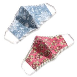 2 Piece Set - 100% Cotton Hand Block Print Double Layer Reusable Face Cover - Blue and Red