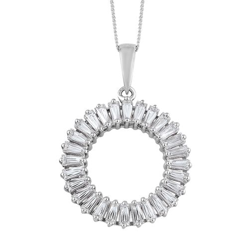 J Francis - Platinum Overlay Sterling Silver (Bgt) Circle Of Life Pendant with Chain Made with SWARO