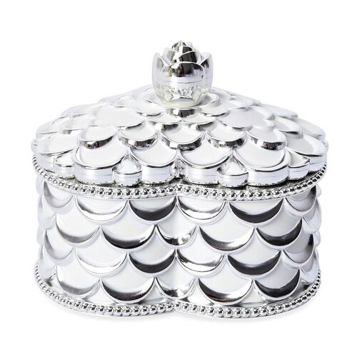 Heart Shape Rosette Texture Jewellery Storage Box with Velvet Scratch Protection and Top Lid Mirror