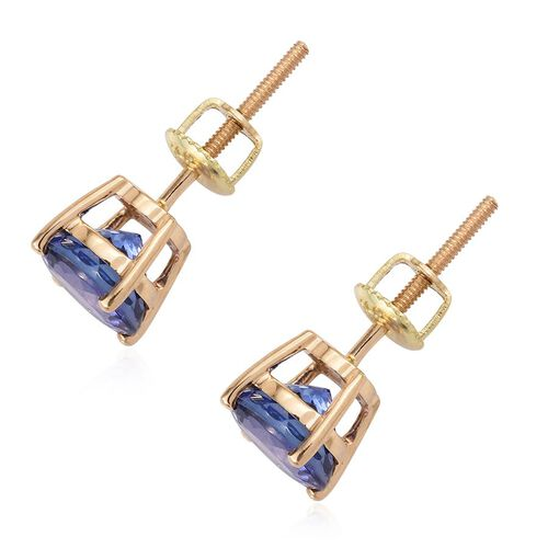 ILIANA 18K Yellow Gold AAA Tanzanite (Rnd) Stud Earrings (with Screw Back) 3.000 Ct.