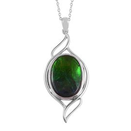 6 Carat AA Canadian Ammolite Solitaire Pendant With Chain in Rhodium Plated Silver