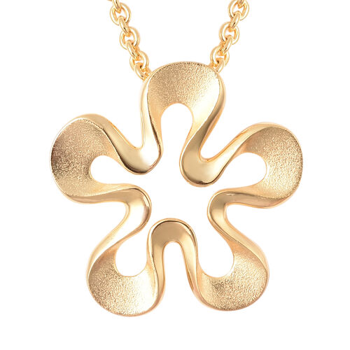 RACHEL GALLEY Sandblast Collection - Yellow Gold Overlay Sterling Silver Floral Design Pendant With