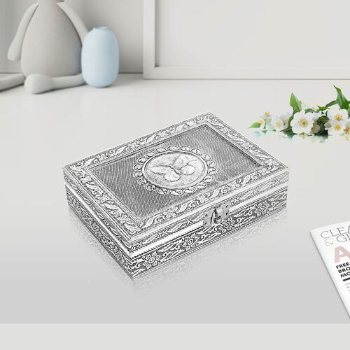 3D Embossed Collection Handcrafted Butterfly Oxidised Jewellery Box (Size 19x14 Cm) with Mirror and Velvet Interior