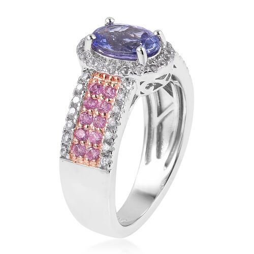 One Time Deal- Tanzanite (Ovl 8x6mm, 1.25 Ct), Natural White Cambodian Zircon, Madagascar Pink Sapphire Ring in Rhodium Overlay Sterling Silver 2.310 Ct.