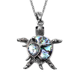 Abalone Shell, Black Austrian Crystal and Simulated Grey Spinel Turtle Pendant with Chain (Size 20 w