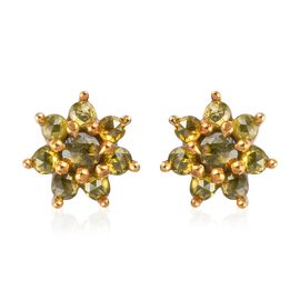 Yellow Diamond Floral Stud Earrings (with Push Back) in Platinum Overlay Sterling Silver