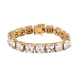 J Francis Crystal from Swarovski White Crystal Tennis Bracelet in 14K Gold Plated Silver 7.75 Inch