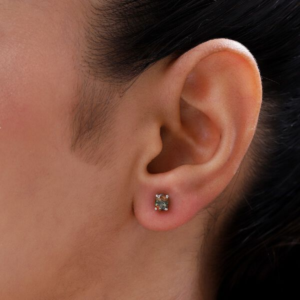 Andalusite Stud Earrings (with Push Back) in Platinum Overlay Sterling Silver