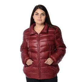 Wine Colour Women Short Puffer Jacket with Two Pockets