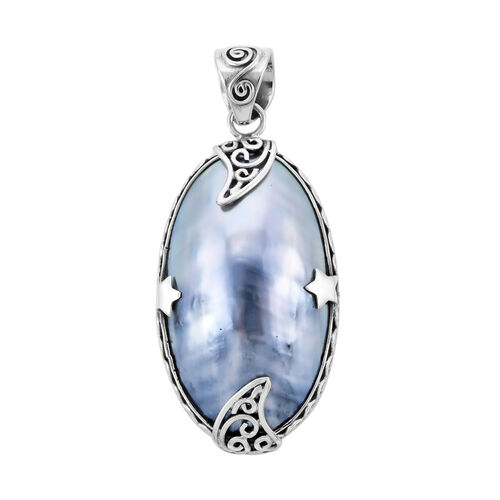 Royal Bali Collection - Blue Mabe Pearl Pendant in Sterling Silver, Silver wt 5.74 Gms