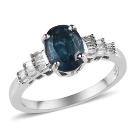 Extremely Rare Indigo Kyanite (Ovl) and Diamond Ring (Size R) in Platinum Overlay Sterling Silver 1.50 Ct.