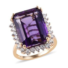 9K Yellow Gold AAA Zambian Amethyst (Oct 16x12mm), Natural Cambodian Zircon Ring 13.60 Ct.