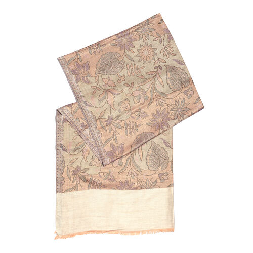 100% Modal Reversible Light Purple, Golden and Multi Colour Flower and Leaves Pattern Jacquard Scarf (Size 190x70 Cm)