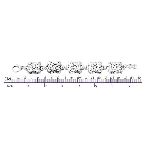 Rhodium Overlay Sterling Silver Pebble Bracelet (Size 7.75), Silver wt 21.34 Gms.