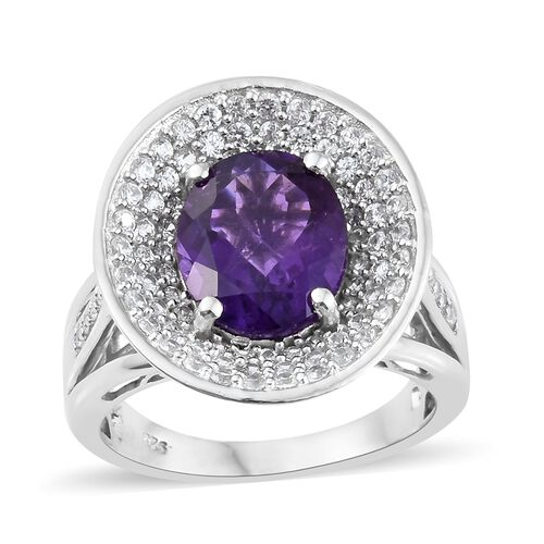 Lusaka Amethyst (Ovl 4.15 Ct), Natural Cambodian Zircon Ring in Platinum Overlay Sterling Silver 5.750 Ct. Silver wt 7.60 Gms.