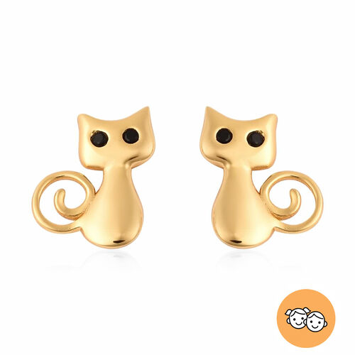 Children Kitty Earrings with Boi Ploi Black Spinel in Gold Plated Silver