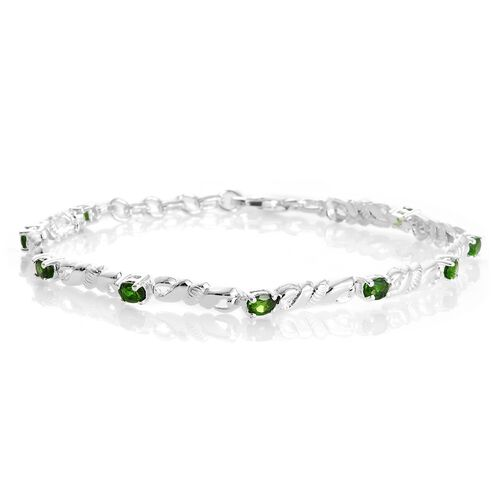 One Time Deal-Russian Diopside (Ovl) Bracelet (Size 7 with Half inch Extender) in Sterling Silver 2.000  Ct.