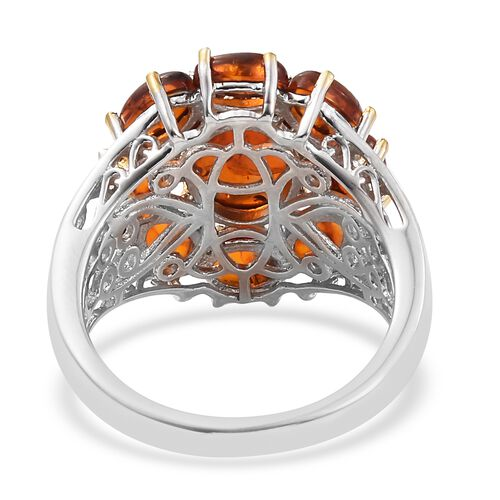 Baltic Amber (Ovl) Ring in Platinum and Yellow Gold Overlay Sterling Silver 2.750 Ct. Silver wt 5.99 Gms.
