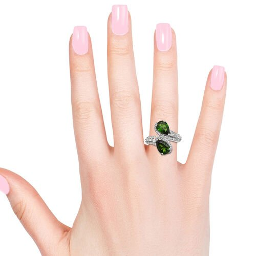Russian Diopside (Pear), Natural Cambodian Zircon By Pass Ring in Platinum Overlay Sterling Silver 4.750 Ct.