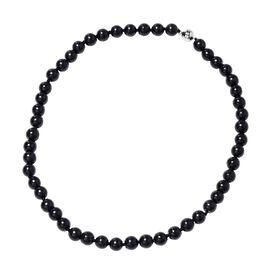 Super Auction - Elite Shungite (Rnd 9-11 mm) Beads Necklace (Size 20) with Magnetic Lock in Rhodium
